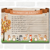 Woodland Animal Neutral Baby Shower Games Guess Who Game Cards