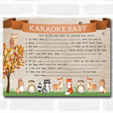 Woodland Animal Neutral Baby Shower Games Song Lyric Karaoke Cards