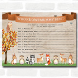 Woodland Animal Neutral Baby Shower Games Who Knows Mum Best Cards