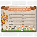 Woodland Animal Neutral Baby Shower Games Word Scramble Cards