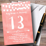 Coral Pink Lights 13th Customised Birthday Party Invitations