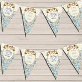 Baby Elephant Shabby Chic Floral Blue Boys Children's Birthday Bunting