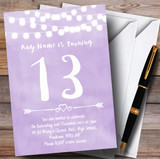 Purple Lilac Lights 13th Customised Birthday Party Invitations
