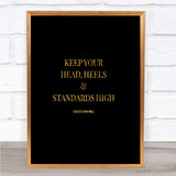 Coco Chanel High Standard & Heels Quote Print Black & Gold Wall Art Picture
