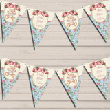 Teddy Bear Shabby Chic Floral Pink Girls Christening Bunting
