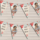 Vintage Shabby Chic Floral Brown Dark Skinned Boy Christening Bunting