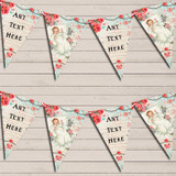 Vintage Shabby Chic Floral Pink Blue Baby Roses Christening Bunting