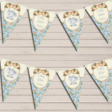 Baby Elephant Shabby Chic Floral Blue Boys Christening Bunting