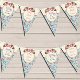 Baby Elephant Shabby Chic Floral Christening Bunting
