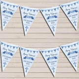 Blue Boys Watercolour Banner Naming Day Christening Bunting
