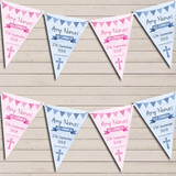 Blue Pink Boy Girl Twins Watercolour Banner Holy Communion Christening Bunting