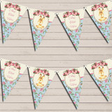 Bunny Baby Rabbit Shabby Chic Floral Pink Girls Christening Bunting