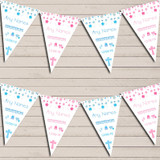 Christening Or Baptism Pink Blue Boy Girl Twins Christening Bunting
