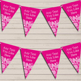 Hot Bright Pink Burlap & Lace Engagement Bunting Garland Party Banner