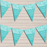 Burlap & Lace Aqua Green Engagement Bunting Garland Party Banner