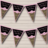 Leopard Print Pale Pink Bow Hen Do Night Party Bunting