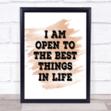 Best Things In Life Quote Print Watercolour Wall Art