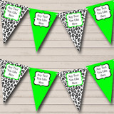 Black White & Lime Green Animal Print Hen Do Night Party Bunting