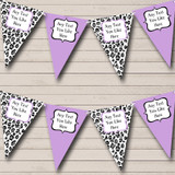 Black White & Lilac Animal Print Hen Do Night Party Bunting