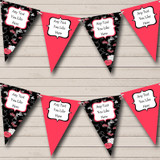 Black Coral Floral Shabby Chic Hen Do Night Party Bunting