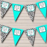 Black & Turquoise Teal Animal Print Hen Do Night Party Bunting