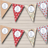 Red Map Vintage Nautical Sailing Beach Seaside Themed Bunting