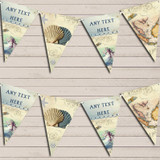 Vintage Nautical Map Shells Sea Party Bunting