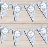 Floral Shabby Chic Vintage Blue Rose Rustic Wedding Day Bunting