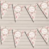 Floral Shabby Chic Vintage Pink Rose Rustic Wedding Day Bunting