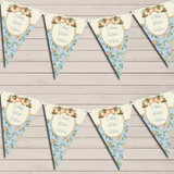 Shabby Chic Floral Vintage Rose Frame Ivory Blue Wedding Day Bunting