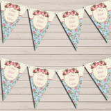 Shabby Chic Floral Vintage Rose Frame Pink Wedding Day Bunting