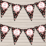 Black & Coral Bright Pink Roses Wedding Day Bunting