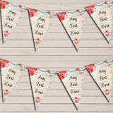 Blue Pink Rustic Vintage Shabby Chic Floral Wedding Day Bunting