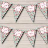 Floral Blue & Pink Shabby Chic Welcome Home New Baby Bunting