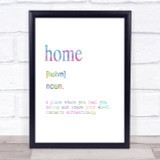 Word Definition Home Rainbow Quote Print