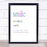 Word Definition Smile Rainbow Quote Print