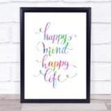 Happy Mind Happy Life Swirl Rainbow Quote Print