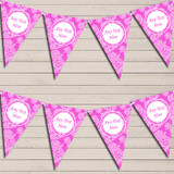 Lace Pattern Bright Hot Pink Retirement Bunting Garland Party Banner
