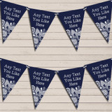 Navy Blue Burlap & Lace Retirement Bunting Garland Party Banner
