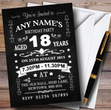 Vintage Chalkboard Style Black And White 18Th Birthday Party Customised Invitations