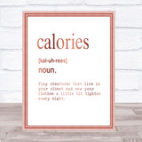 Word Definition Calories Quote Print Poster Rose Gold Wall Art
