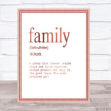 Word Definition Family Quote Print Poster Rose Gold Wall Art