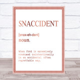 Word Definition Snaccident Quote Print Poster Rose Gold Wall Art