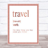 Word Definition Travel Quote Print Poster Rose Gold Wall Art