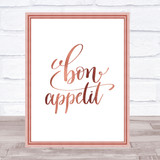 Bon Appetit Quote Print Poster Rose Gold Wall Art