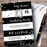 Black White Silver Confetti 18th Customised Birthday Party Invitations