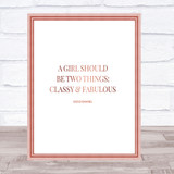 Coco Chanel Classy & Fabulous Quote Print Poster Rose Gold Wall Art