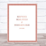 Coco Chanel High Standard & Heels Quote Print Poster Rose Gold Wall Art