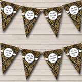 Black And Gold Vintage Damask Christmas Party Bunting
