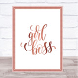Girl Boss Swirl Quote Print Poster Rose Gold Wall Art